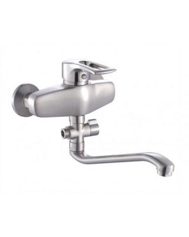 Смеситель для ванны с длинным изливом (35см). Сатин T4823L  (картридж ⌀ 40мм)